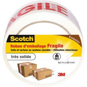 Scotch Ruban adhésif d'emballage marquage Fragile - Longueur 66 m - Largeur 48 mm - Blanc et rouge