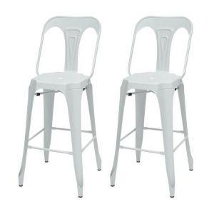 KRAFT Claire Lot de 2 chaises de bar - Métal blanc satiné - Style industriel - L 47 x P 55 cm - Assise H 75.5cm - Métal blanc satiné - Assise L 47 x P 55 cm Hauteur d'assise 75.5cm - Lot de 2