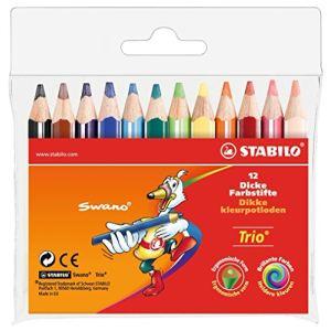 Stabilo 12 Crayons de couleur Trio court assortis