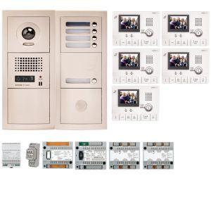 Aiphone GTV5E - Pack vidéo 5 BP avec 5 moniteurs GT1CL préprogrammés (200314)