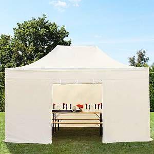 Intent24 Tente pliante tente pliable 3x4,5m - sans fenêtre PROFESSIONAL toit 100% imperméable tente de jardin pavillon creme.FR