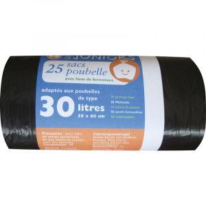 Schweitzer Sac poubelle à liens traditionnel - 30 l - Longueur 60 cm - 21 microns - 25 sacs - Noir