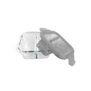 dBb Remond Récipient en Verre 2 Compartiments + Couvercle Étanche Gris Translucide 320ml