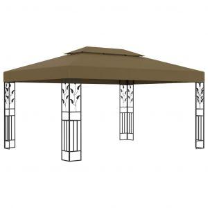 VidaXL Tonnelle avec double toit 3x4 m Taupe 180 g/m²