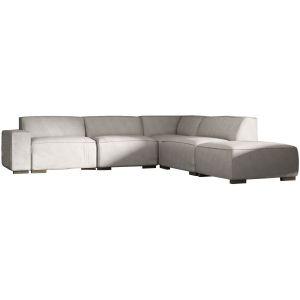 Comforium Canapé d'angle moderne à 5 places avec méridienne droite en tissu gris clair