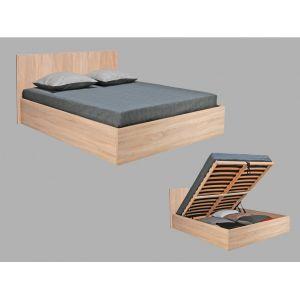 Weber Industries 035860Z Madrid Lit Coffre avec Tête de Lit et Sommier à Latte Bois C ne Blanc 160 x 200 cm