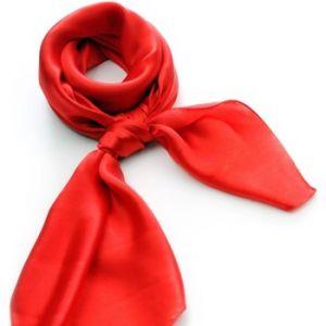 Allée du foulard Carré de soie Premium Uni Rouge