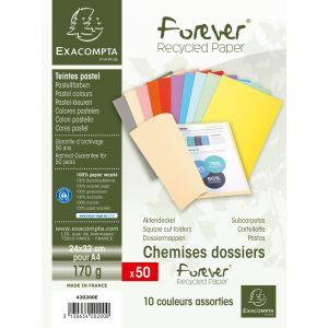 Exacompta 420200E - Paquet de 50 chemises FOREVER 180, coloris assortis 10 teintes