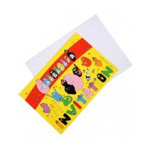 6 cartes d'invitation avec enveloppes Barbapapa