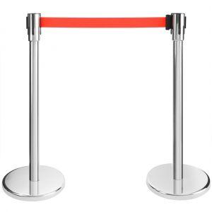 Arebos 2x Barrière à ceinture rétractable rouge