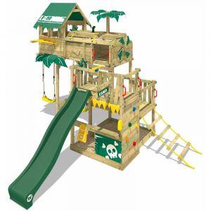 Wickey Aire de jeux Portique bois Smart Castaway avec balançoire et toboggan vert Cabane enfant exterieur avec bac à sable