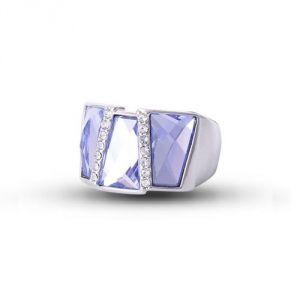 Blue Pearls Cry H401 C - Bague rectangle en Cristal de Swarovski Elements bleu et plaqué rhodium