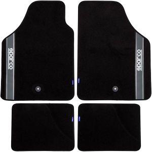 sparco 4 tapis de voiture universels moquette noirs
