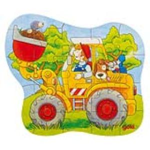 Goki 57518 - Puzzle Tracteur, chargeur et pompiers 18,20 et 22 pièces