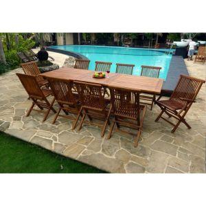 Wood-en-stock Table de jardin en teck avec 8 chaises et 2 fauteuils -  Comparer avec Touslesprix.com