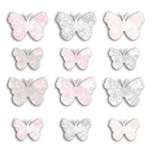 Toga Die cut - Papillons - Rose, gris - 60 pcs