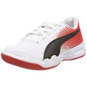 Puma Veloz NG Jr, Chaussures Multisport Indoor Mixte Enfant, Blanc White Black-Flame Scarlet, 33 EU