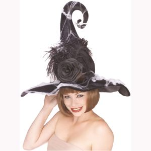 Rubie's Chapeau de sorcière luxe avec rose adulte