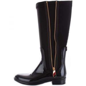 Tommy Hilfiger Material Mix Long Rain Boot, Bottes Hautes Femme, Noir (Black 990), 40 EU