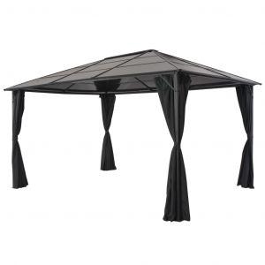 VidaXL Tonnelle avec rideau Aluminium 4x3x2,6 m Noir