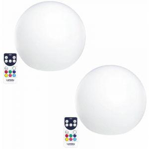 Lumisky Lot de 2 Boules lumineuses sans fil flottante LED multicolore dimmable BOBBY ?30cm avec télécommande et socle à induction
