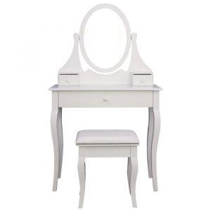 Coiffeuse classique en bois paulownia blanc - L 80 cm - Bois paulownia blanc - L 80 x P 40 x H 137 cm - 1 miroir et 3 tiroirs - 1 tabouret blanc