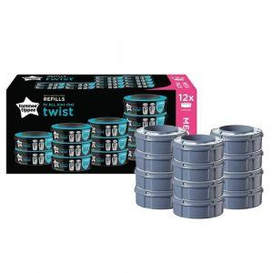 Tommee tippee Lot de 12 recharges pour poubelles à couches Tec et Twist & Click gris