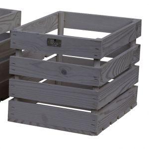 Estwood Caisse en bois de pin Gris 35x26x26 cm