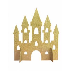 Centre de table Château de Princesse doré pailleté 35 cm Taille Unique