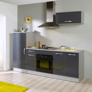 Cuisine complète laquée gris (2.4 x 0.6 x 2.05 m)