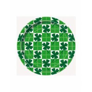 8 petites assiettes en carton Saint-Patrick (18 cm)