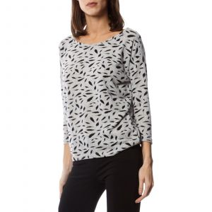 Only NOS Onlelcos 4/5 AOP Top JRS Noos Pull, Gris (Light Grey Melange AOP:W. Black Feathers), 36 (Taille Fabricant: X-Small) Femme