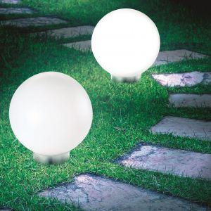 Idmarket Lot de 2 lampes boules 20 CM LED solaires