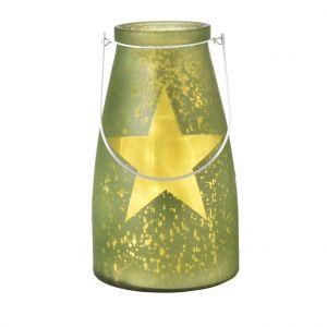 Verre bocal vert avec étoile lumineuse 20 LED de 15x26 cm
