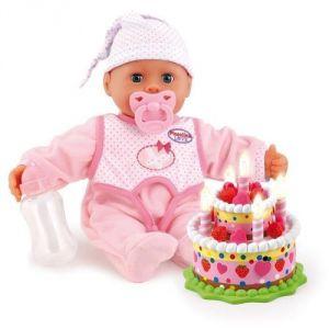 Bayer Design 93885 - Poupon Piccolina bébé premiers mots avec gâteau d'anniversaire 38 cm