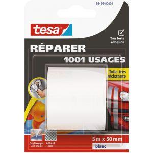 Tesa Adhésif 1001 usages - blanc - 5 m x 50 mm - Ruban couleur