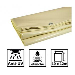 Toile de toit pour tonnelle et pergola 680g/m² ivoire 10x12m PVC