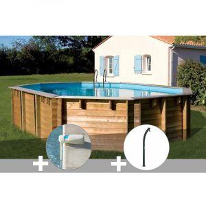 Sunbay Kit piscine bois Vermela 6,72 x 4,72 x 1,46 m + Alarme + Douche