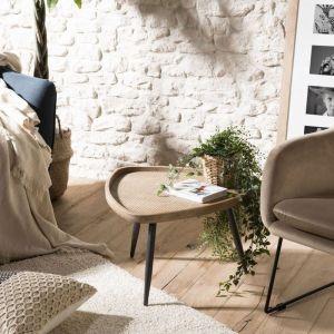 """Macabane Table d'Appoint Rotin & Métal """"Rioda"""" 57cm Naturel"""