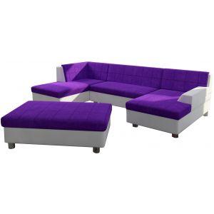 Comforium Canapé d'angle panoramique design avec méridienne droite et pouf en tissu violet et cuir synthétique blanc