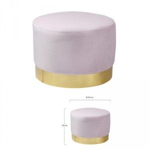T HOME DECO FACTORY Pouf Velours métal Ø50x35cm Rose