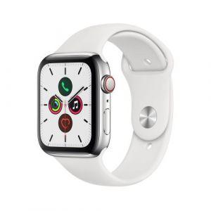 Apple Watch Watch Series 5 GPS + Cellular 44mm, Boitier Acier Inoxydable avec Bracelet Sport Blanc - S/M & M/L