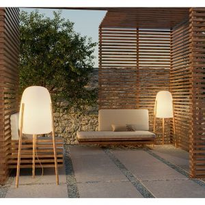 New Garden Lampadaire extérieur ROCKET-Lampadaire d'extérieur LED trépied avec câble H145cm Blanc