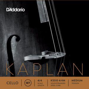 D'Addario Bowed Jeu de cordes pour violoncelle Kaplan, manche 4/4, tension Medium