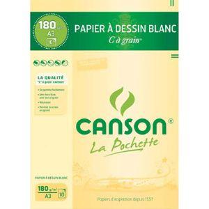 Canson 27106 - 10 Feuilles de papier dessin C 180 g (A3)