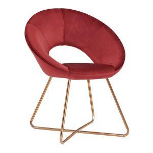 179df9e0a0dc8 Décoshop26 Fauteuil chaise lounge design en velours rouge pieds en métal