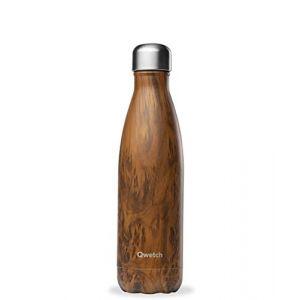 Qwetch Bouteille Isotherme INOX 500ml - Maintient Vos Boissons au Chaud Pendant 12 Heures & au Frais Pendant 24 Heures - BPA Free - Wood Brun