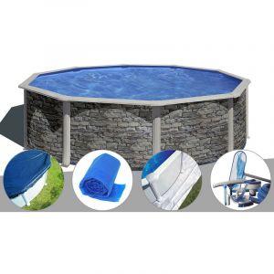 Gre Kit piscine acier aspect pierre Cerdeña ronde 4,80 x 1,22 m + Bâche hiver + Bâche à bulles + Tapis de sol + Kit d'entretien
