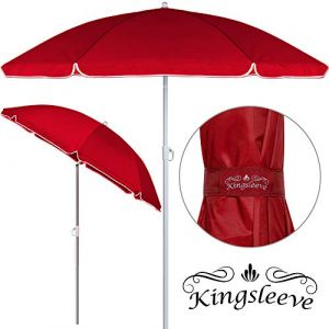 Deuba Kingsleeve Parasol Rouge 180cm réglable en Hauteur Hydrofuge inclinable Plage Pique-Nique Robuste Jardin terrasse Pare-Soleil