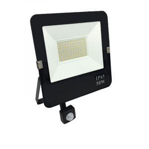 Silamp Projecteur LED 50W Détecteur de Mouvement Crépusculaire Extra Plat IP65 NOIR - Blanc Neutre 4000K - 5500K